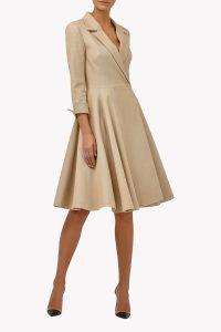 Платье-халат бежевое
